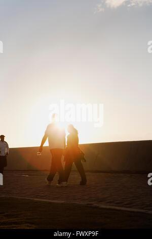Sud Africa, giovane tenendo le mani mentre si cammina Foto Stock