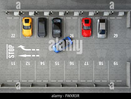 Vista aerea del parcheggio. Metà del parcheggio disponibile per EV servizio di ricarica. Il rendering 3D'immagine. Foto Stock
