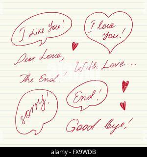 Manoscritte messaggi Amore Foto Stock
