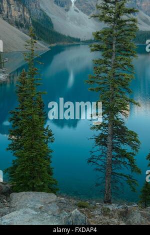 Il Moraine Lake, glacially-lago alimentato, nella luce della sera, Valle dei Dieci Picchi, Canadian Rockies, il Parco Nazionale di Banff Foto Stock