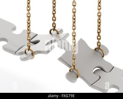 Puzzle pezzi formanti un ponte isolato su sfondo bianco Foto Stock