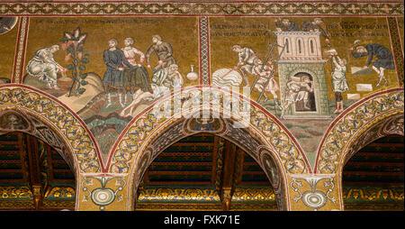 Mosaici bizantini, Ebbrezza di Noè e la torre di Babele, parete sud navata, Antico Testamento, Cattedrale di Monreale Foto Stock