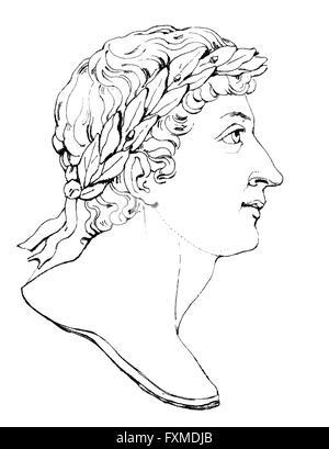 Publio Ovidius Naso o Ovidio, 43 BC - 17, un poeta romano, Publio Ovidius Naso oder Ovidio, 43 v. Chr. - 17 n. Chr., ein römischer D Foto Stock