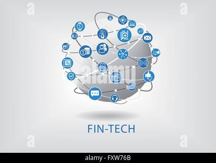 Fin-tech (Tecnologia finanziaria) vettore ed infografico e sfondo Foto Stock