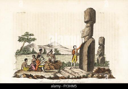 Il capitano James Cook e nativi esaminando le statue Moai dell'isola di pasqua o Rapa Nui. Copperplate Handcolored incisi da Sasso da Giulio Ferrario le antiche e moderne costumi di tutti i popoli del mondo, Firenze, Italia, 1844.