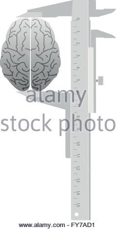 Verifica IQ. Misure del calibro del cervello Foto Stock