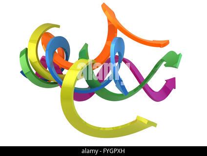 Eseguire il rendering di un gruppo di frecce colorate Foto Stock
