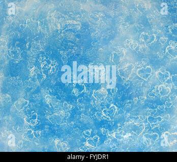 Icebound congelati cuori in un cristallo di ghiaccio Foto Stock