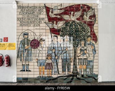 Germania orientale di propaganda comunista murale sulla parete del
