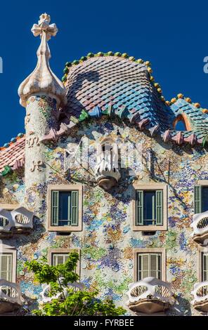 Casa Batllo, Barcellona, in Catalogna, Spagna Foto Stock