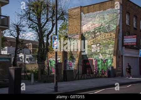 Arte di strada in Hoxton, East London Foto Stock
