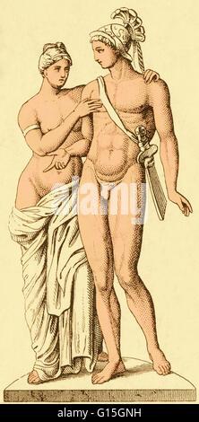 Il Greco antico figure mitiche di Afrodite e Ares (o Venere e Marte nel Pantheon romano). Questi sono la dea di Foto Stock