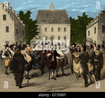 Peter Stuyvesant e nativi Indiani Americani, xvii secolo. Stuyvesant (1612-1672) mantenuta una tregua diplomatica Foto Stock