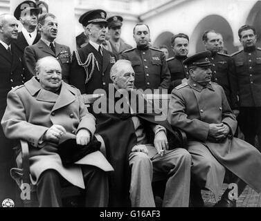 Conferenza di Yalta. Il Primo Ministro Winston Churchill, Presidente Franklin D. Roosevelt, e il Maresciallo Joseph Foto Stock