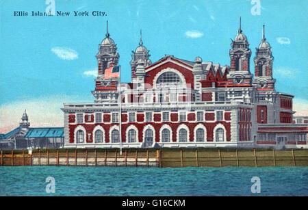 In 35 anni prima di Ellis Island aperto, oltre otto milioni di immigrati in arrivo a New York era stato elaborato Foto Stock