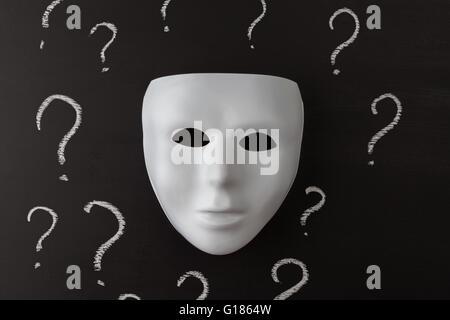 Maschera bianca su sfondo nero con disegnati a mano di Chalk dei punti interrogativi. Chi sono Io ? Il concetto di identità. L'immagine orizzontale.