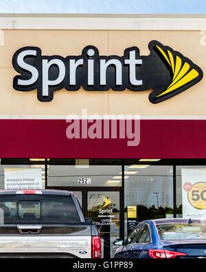 L'esterno di una delle telecomunicazioni Sprint store in Oklahoma City, Stati Uniti d'America. Foto Stock