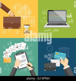 Design piatto moderno vettore illustrazione concetto di business webinar on line seminario, la pianificazione degli Foto Stock