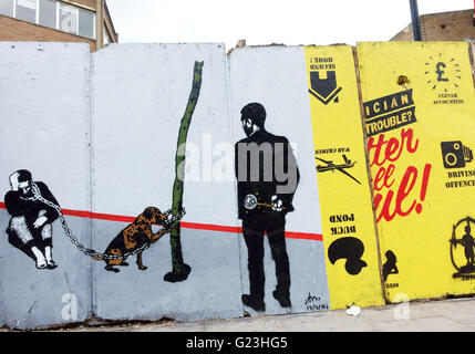 Arte di strada in Hackney Road, Hoxton, East London Foto Stock