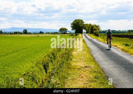 Ciclista su una tranquilla stradina tra una semplice Brow e Sollom in West Lancashire Foto Stock