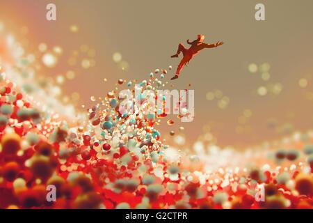 L'uomo il salto dal sacco di sfere colorate, Illustrazione tecnica Foto Stock