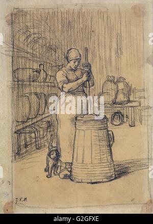 Jean-François Millet - Studio per donna zangolatura Burro - Museo delle Belle Arti di Boston Foto Stock