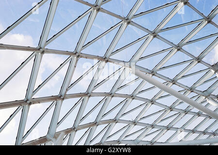 In acciaio del tetto di vetro parete di soffitto costruzione finestra trasparente con sistema di supporto Foto Stock