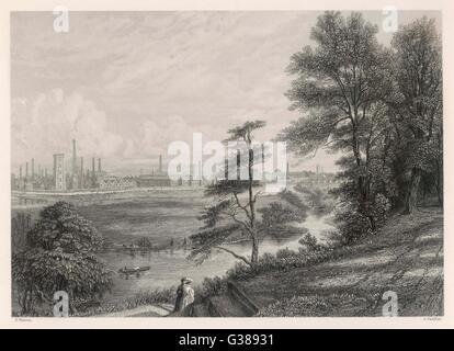 Paesaggio industriale a Burton on Trent. Data: Circa 1840 Foto Stock