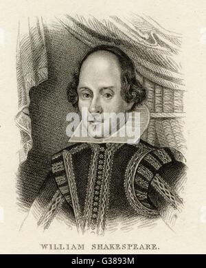 WILLIAM Shakespeare (1564 - 1616), drammaturgo inglese e poeta. Foto Stock