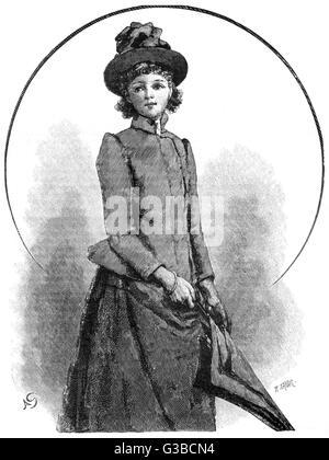 Giovane donna vittoriana in abito all'aperto. Data: 1890 Foto Stock