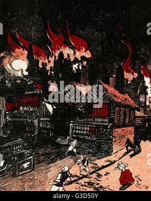 Il Grande Incendio di Londra, che ha avviato presso la panetteria di Thomas Farriner (o Farynor) su Pudding Lane, Foto Stock