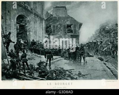 Battaglia di Bourget, guerra franco-prussiana o guerra franco-tedesca (1870 -1871), protezioni prussiana con prigionieri Foto Stock