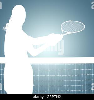 Immagine composita di atleta giocando a tennis con una racchetta Foto Stock