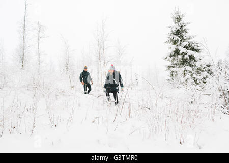 Finlandia, Jyvaskyla, Saakoski, coppia giovane camminando tra gli alberi nudi in inverno Foto Stock