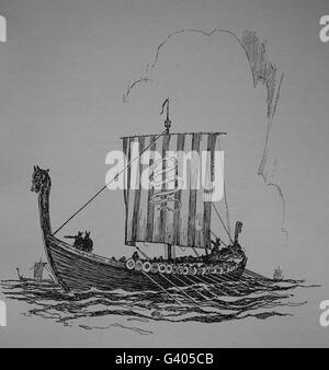 Viking Ship. Viking Età (8th-11secolo). Incisione. Foto Stock