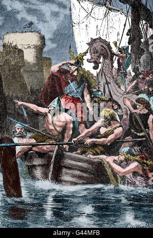 I Vichinghi che attacca la costa mediterranea. Decimo secolo. Incisione. Colore. Foto Stock