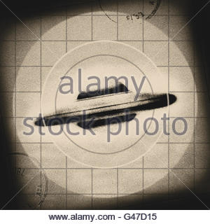 Retrò UFO Flying Saucer metà secolo atomic retrò spazio età Foto Stock