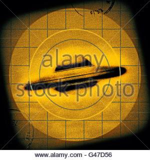 Retrò UFO Flying Saucer avvistamento di metà secolo atomic retrò spazio età Foto Stock