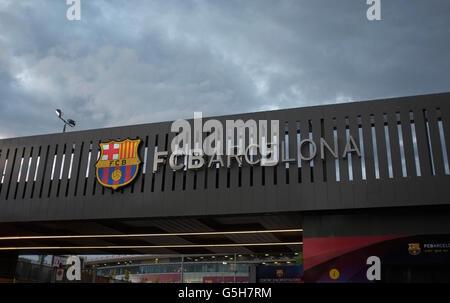 Ingresso allo stadio di calcio Nou Camp, Barcellona, Spagna Foto Stock