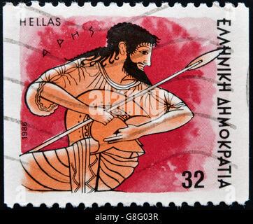 Grecia - circa 1986: un timbro stampato in Grecia dal 'dèi dell Olimpo' problema che mostra dio Ares, circa 1986. Foto Stock