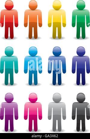 Set di vettore di colorati simboli uomo Foto Stock