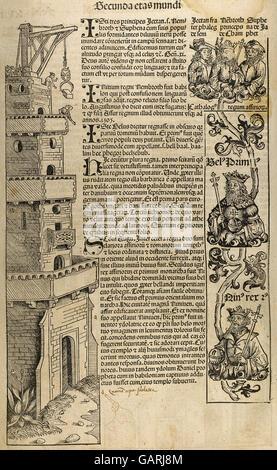 La costruzione della torre di Babele. Secunda eta mundi. Incisione del XVI secolo. Foto Stock