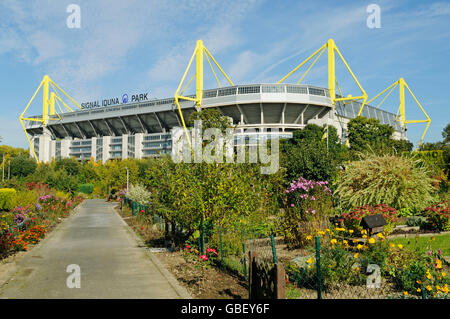 Signal Iduna Park, Westfalenstadion, stadium, BVB, Borussia, lo stadio di calcio, riparto area giardino, Dortmund, Foto Stock
