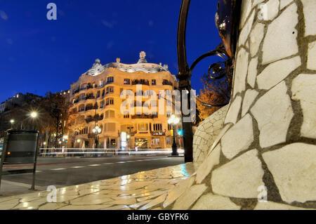 Casa Milà. La Pedrera di Antoni Gaudí. Barcellona. La Catalogna. Spagna. Foto Stock