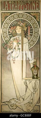 "Belle arti, Mucha, Alfons Maria, (24.8.1860 - 14.7.1939), poster per la liqueur de 'La Trappistine"" ca. 1895, litografia, Foto Stock"