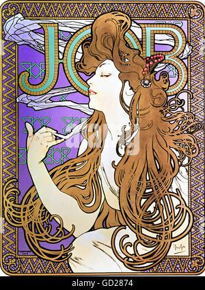 Belle arti, Mucha, Alphonse (1860 - 1939), un poster poster pubblicitario per 'Lavoro' sigarette, Litografia a colori, Parigi, circa 1900, collezione privata, artista del diritto d'autore non deve essere cancellata