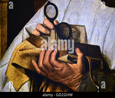 """Medicina, bicchieri / oftalmologia, Canon con occhiali, di Jan van Eyck um (1390 - 1441), la pittura, la """"Madonna Foto Stock"""