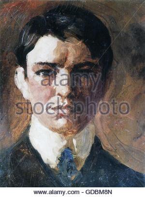 Macke, Agosto, 3.1.1887 - 26.9.1914, pittore tedesco, ritratto, autoritratto, pittura, olio su tela, 1907, collezione Foto Stock