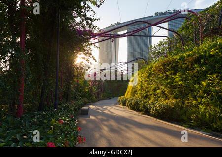 Vista al tramonto del park alley a giardini dalla baia di Marina Bay Sands edificio sullo sfondo, Singapore