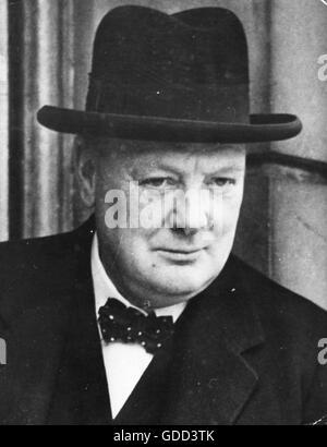 Churchill, Winston, 30.11.1874 - 24.1.1965, uomo politico britannico (Cost.), il Primo Ministro 10.5.1940 - 26.7.1945, Foto Stock